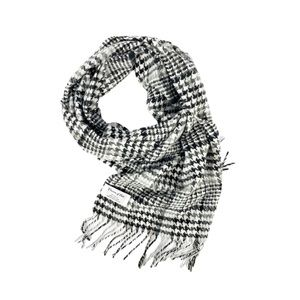 Preston & York Scarf Houndstooth B & W Soft Fringe